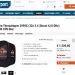 AMD Ryzen Threadripper 2990X 32-Core CPU für 1509 € gelistet