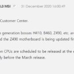 MSI bestätigt, dass die 11. Gen der Core Desktop-CPUs Ende März auf den Markt kommen wird
