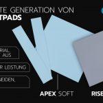 Alphacool präsentiert heute die Apex Soft 11 W/mk & 14 W/mk und die Rise Ultra Soft 7 W/mk Wärmeleitpads